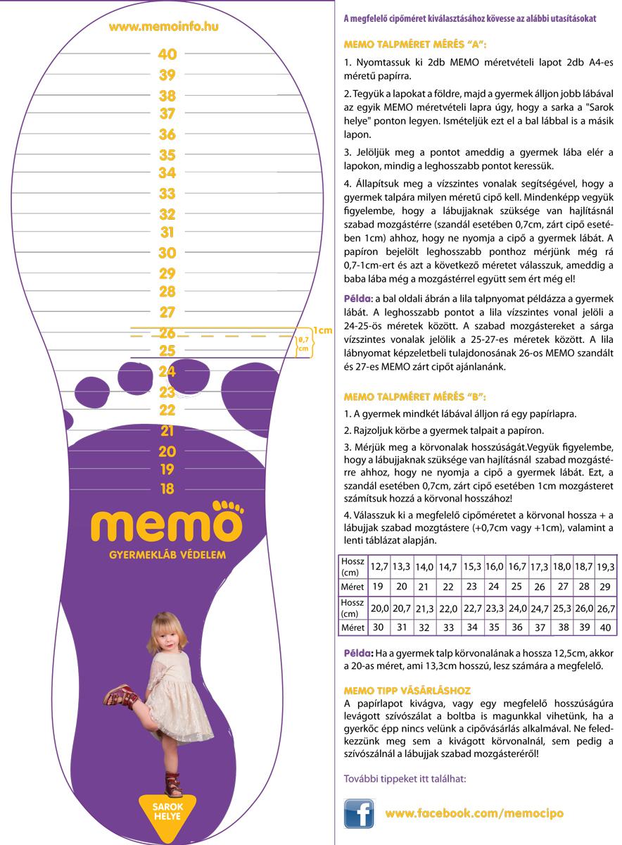 Így válassz megfelelő méretű Memo cipőt! bde6570cf8